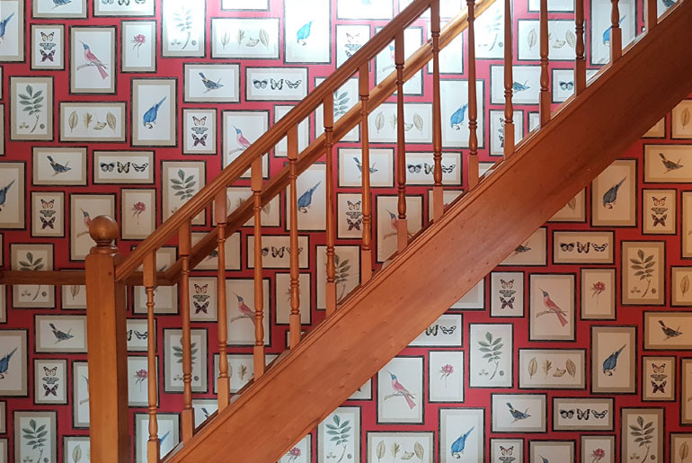 Feature wall on staircase